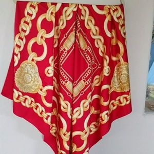 Avon Vtg 1996 Made in Italy Red & Gold Scarf